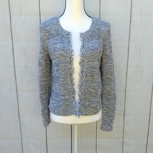 Loft blue and white cardigan